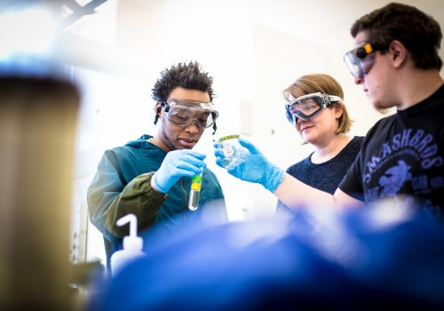 Sally Wasileski in the lab with students